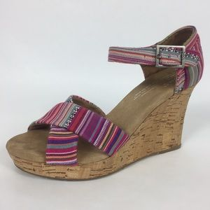 """Toms striped fabric shoes 3"""" cork heel size 6"""